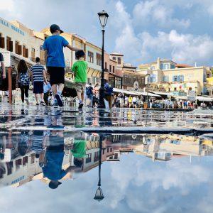 Perfekte Reflektionen bei unserem Hafenspaziergang in Chania, Kreta
